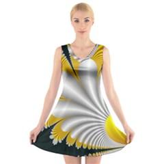 Fractal Gold Palm Tree On Black Background V Neck Sleeveless Skater Dress
