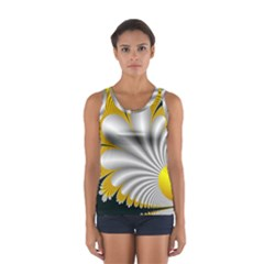 Fractal Gold Palm Tree On Black Background Women s Sport Tank Top