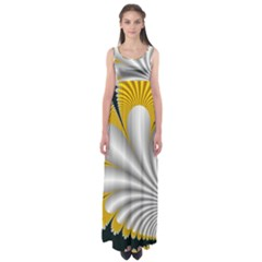 Fractal Gold Palm Tree On Black Background Empire Waist Maxi Dress