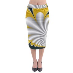 Fractal Gold Palm Tree On Black Background Midi Pencil Skirt