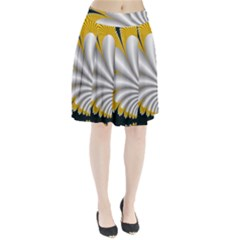 Fractal Gold Palm Tree On Black Background Pleated Skirt