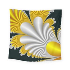 Fractal Gold Palm Tree On Black Background Square Tapestry (small)