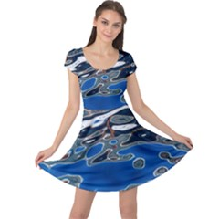 Colorful Reflections In Water Cap Sleeve Dresses