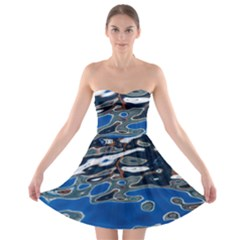 Colorful Reflections In Water Strapless Bra Top Dress