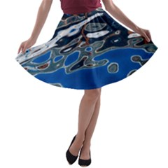 Colorful Reflections In Water A Line Skater Skirt