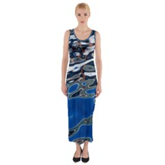 Colorful Reflections In Water Fitted Maxi Dress