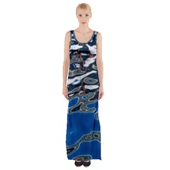 Colorful Reflections In Water Maxi Thigh Split Dress