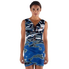 Colorful Reflections In Water Wrap Front Bodycon Dress