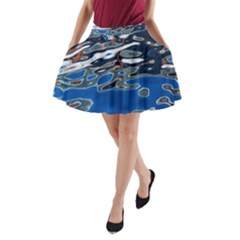 Colorful Reflections In Water A Line Pocket Skirt
