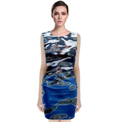 Colorful Reflections In Water Classic Sleeveless Midi Dress