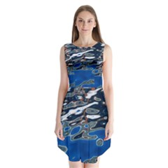 Colorful Reflections In Water Sleeveless Chiffon Dress