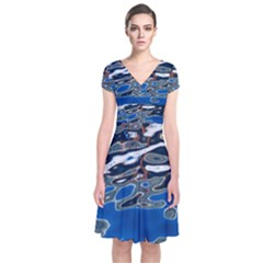 Colorful Reflections In Water Short Sleeve Front Wrap Dress