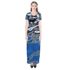 Colorful Reflections In Water Short Sleeve Maxi Dress