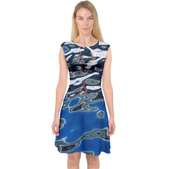 Colorful Reflections In Water Capsleeve Midi Dress