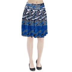 Colorful Reflections In Water Pleated Skirt