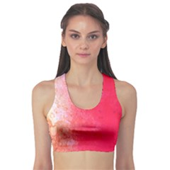 Abstract Red And Gold Ink Blot Gradient Sports Bra