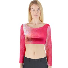 Abstract Red And Gold Ink Blot Gradient Long Sleeve Crop Top