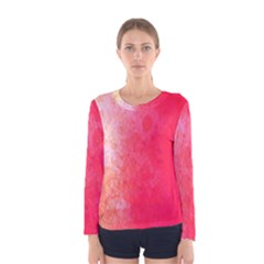 Abstract Red And Gold Ink Blot Gradient Women s Long Sleeve Tee