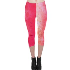 Abstract Red And Gold Ink Blot Gradient Capri Leggings