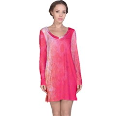 Abstract Red And Gold Ink Blot Gradient Long Sleeve Nightdress