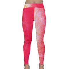 Abstract Red And Gold Ink Blot Gradient Classic Yoga Leggings