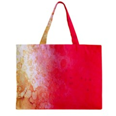 Abstract Red And Gold Ink Blot Gradient Zipper Mini Tote Bag