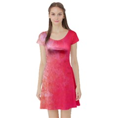 Abstract Red And Gold Ink Blot Gradient Short Sleeve Skater Dress