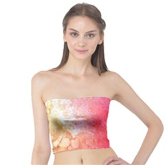 Abstract Red And Gold Ink Blot Gradient Tube Top