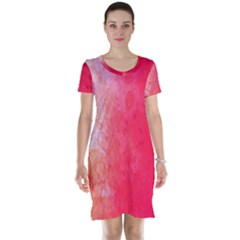 Abstract Red And Gold Ink Blot Gradient Short Sleeve Nightdress