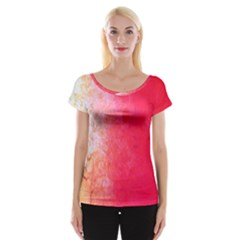 Abstract Red And Gold Ink Blot Gradient Women s Cap Sleeve Top