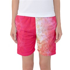 Abstract Red And Gold Ink Blot Gradient Women s Basketball Shorts