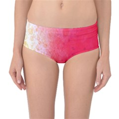 Abstract Red And Gold Ink Blot Gradient Mid Waist Bikini Bottoms