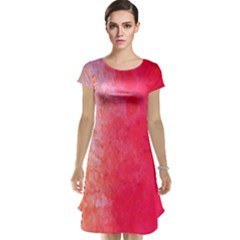 Abstract Red And Gold Ink Blot Gradient Cap Sleeve Nightdress