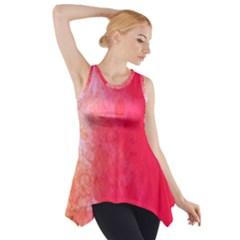 Abstract Red And Gold Ink Blot Gradient Side Drop Tank Tunic