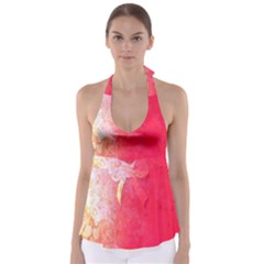 Abstract Red And Gold Ink Blot Gradient Babydoll Tankini Top