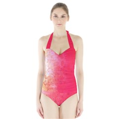 Abstract Red And Gold Ink Blot Gradient Halter Swimsuit