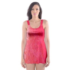 Abstract Red And Gold Ink Blot Gradient Skater Dress Swimsuit