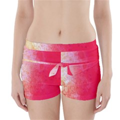 Abstract Red And Gold Ink Blot Gradient Boyleg Bikini Wrap Bottoms