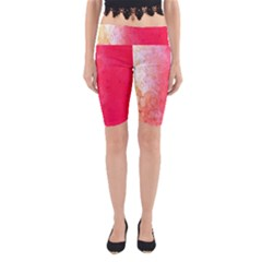 Abstract Red And Gold Ink Blot Gradient Yoga Cropped Leggings