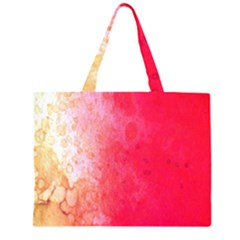Abstract Red And Gold Ink Blot Gradient Zipper Large Tote Bag