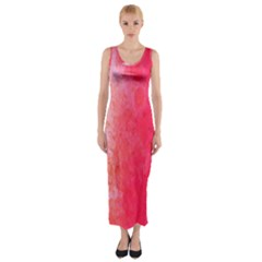 Abstract Red And Gold Ink Blot Gradient Fitted Maxi Dress