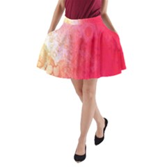 Abstract Red And Gold Ink Blot Gradient A Line Pocket Skirt