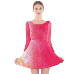Abstract Red And Gold Ink Blot Gradient Long Sleeve Velvet Skater Dress