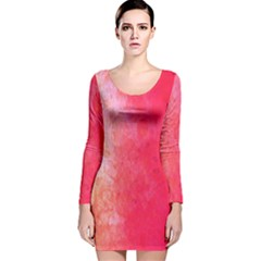 Abstract Red And Gold Ink Blot Gradient Long Sleeve Velvet Bodycon Dress