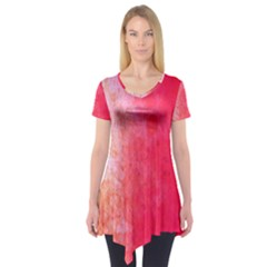 Abstract Red And Gold Ink Blot Gradient Short Sleeve Tunic