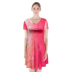 Abstract Red And Gold Ink Blot Gradient Short Sleeve V-neck Flare Dress