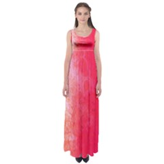 Abstract Red And Gold Ink Blot Gradient Empire Waist Maxi Dress