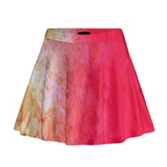 Abstract Red And Gold Ink Blot Gradient Mini Flare Skirt