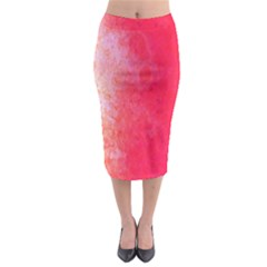 Abstract Red And Gold Ink Blot Gradient Midi Pencil Skirt