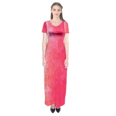 Abstract Red And Gold Ink Blot Gradient Short Sleeve Maxi Dress